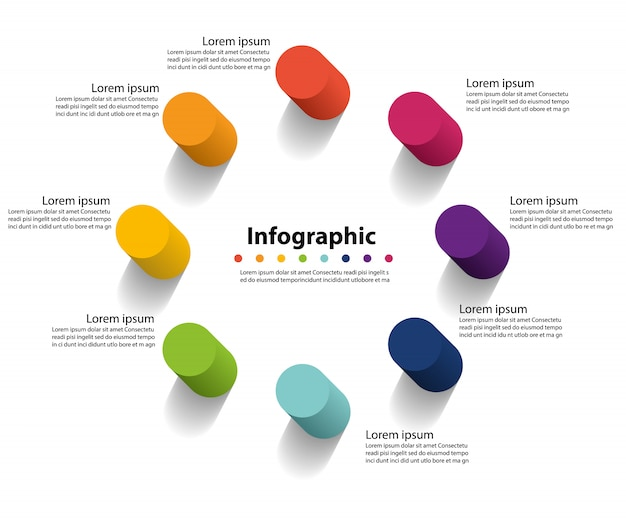 Apresentação de infográfico 8 etapas, círculo linear de infográfico