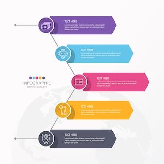 Apresentação de infográfico de negócios com 5 opções