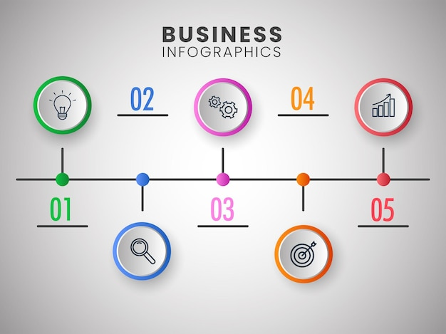 Apresentação de layout de modelo de infográficos de negócios com cinco opções.