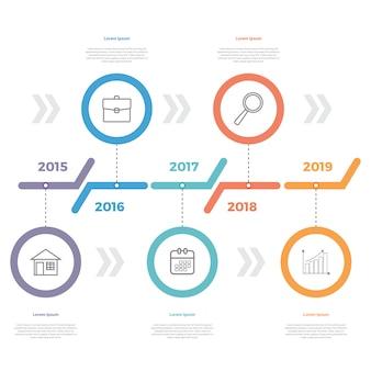 Apresentação de linha do tempo de infográfico