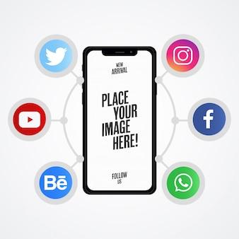 Apresentação de mídia social moderna com mock-up de telefone