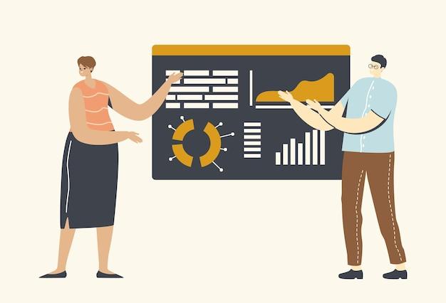 Apresentação de negócios com personagens em treinamento ou seminário no escritório, instrutor dá consulta financeira na diretoria com tabelas e gráficos de estatísticas de análise de dados