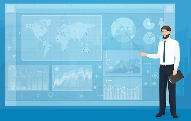 Apresentação de negócios de placa virtual