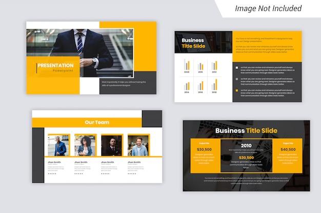 Apresentação de negócios em cores amarela e preta slides design