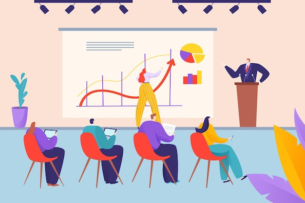 Apresentação de negócios em ilustração de reunião