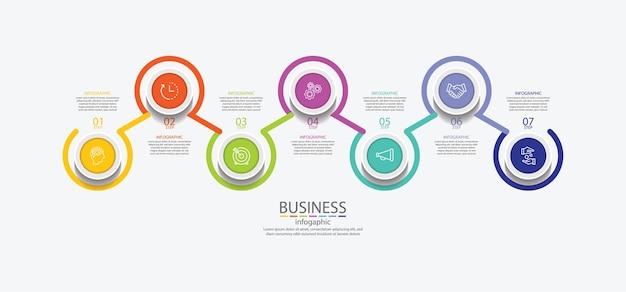 Apresentação de negócios infográfico círculo colorido com etapas