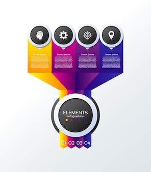 Apresentação de negócios infográfico elementos com quatro etapas