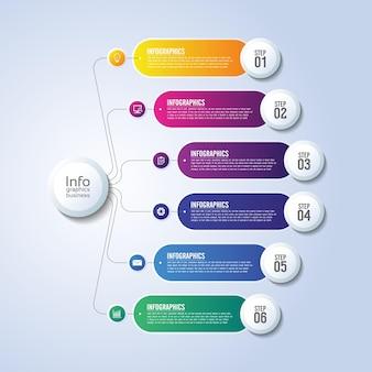 Apresentação de negócios infográfico modelo gradiente colorido com seis etapas