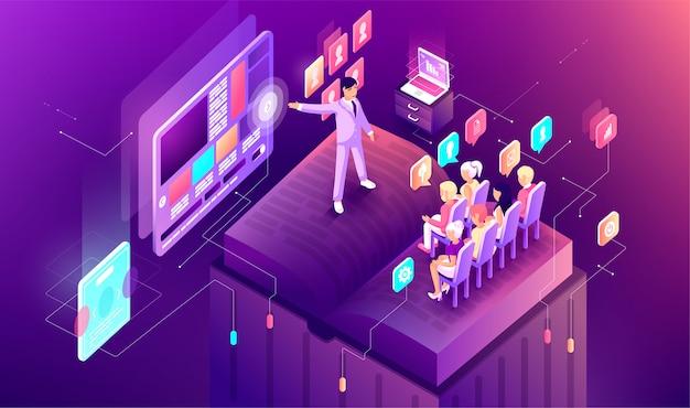 Apresentação de negócios isométrica gradiente de ilustração em design de infográficos de gráfico de slide de livro. audiência espectadores ouvintes orador discurso orador locutor publicidade em tela notebook