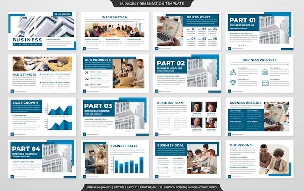 Apresentação de negócios modelo de layout de slide vetor premium