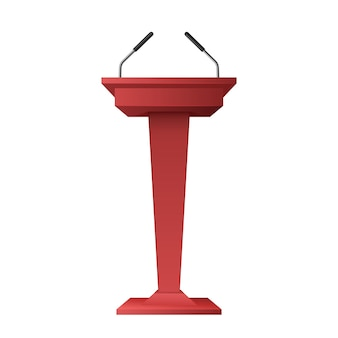 Apresentação de negócios ou tribuna de fala em conferência. rostro de pódio criativo com microfones para palestrante ou político em fundo branco. ilustração em vetor 3d realista