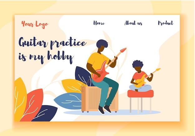 Apresentação de página de destino promovendo tocando guitarra