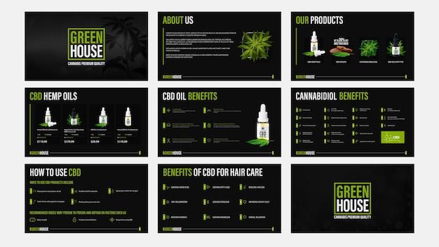 Apresentação de produtos de petróleo cbd, modelo preto de catálogo com elementos de infográfico.