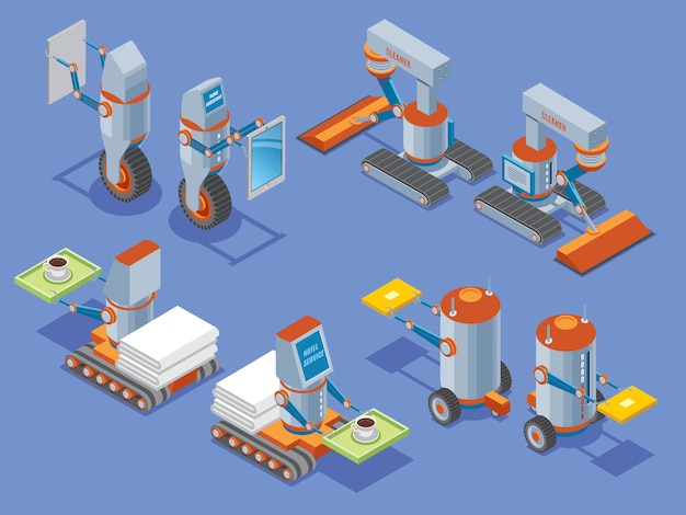 Apresentação de robôs isométricos com serviço doméstico de limpeza estoque serviços de hotelaria assistentes robóticos em frente e vista traseira isolada