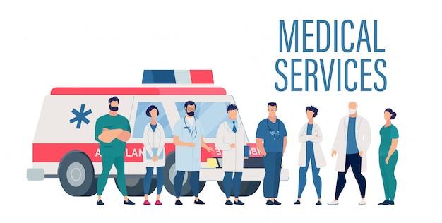 Apresentação de serviços médicos com funcionários do hospital
