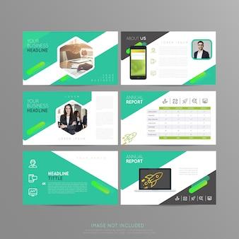 Apresentação de slides verde para negócios