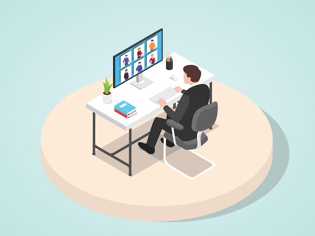 Apresentação de trabalho do gerente líder reunião sua equipe através de estilo cartoon plana de videoconferência.
