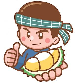 Apresentação de vendedor de durian dos desenhos animados
