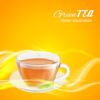 Apresentação de xícara de chá para embalagem