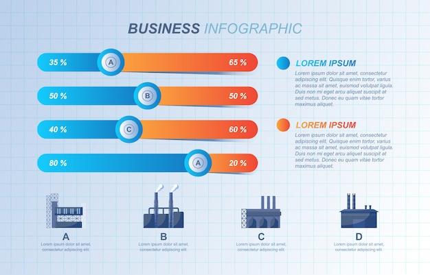 Apresentação diagrama gráfico gráfico barras fábrica financeira negócios industriais infográfico