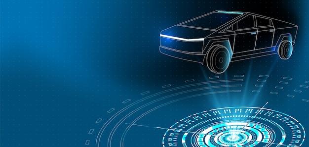 Apresentação do carro do cybertruck na interface do hud em azul, apresentação do futuro cibernético
