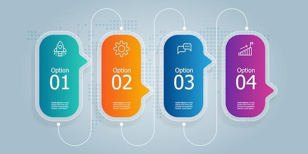 Apresentação do elemento infográfico horizontal da barra de guias com ícones de negócios fundo de ilustração vetorial de 4 etapas