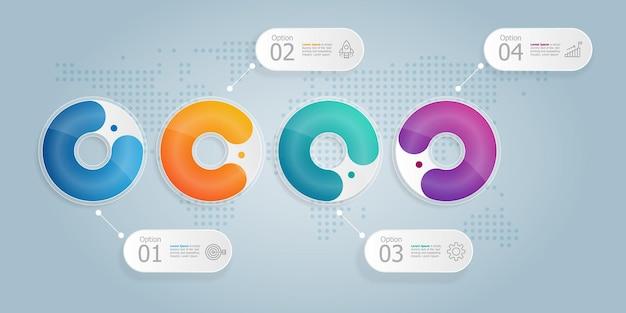 Apresentação do elemento infográfico horizontal da linha do tempo do círculo com ícones de negócios fundo de ilustração vetorial de 4 etapas