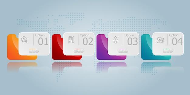Apresentação do elemento infográfico horizontal da pasta com ícones de negócios fundo de ilustração vetorial de 4 etapas