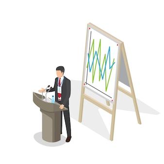 Apresentação do empresário no pódio com programação