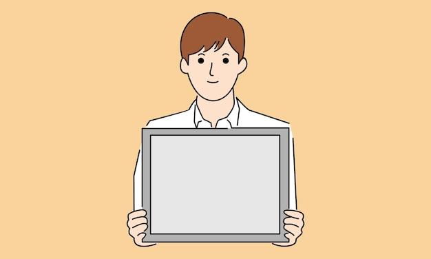 Apresentação do empresário, segurando um quadro branco
