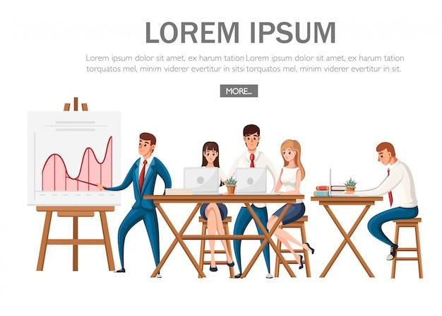 Apresentação do escritório. sala de conferências com quadro de planejamento e mesa e cadeiras de madeira. as pessoas trabalham com laptops. personagem de desenho animado . ilustração em fundo branco