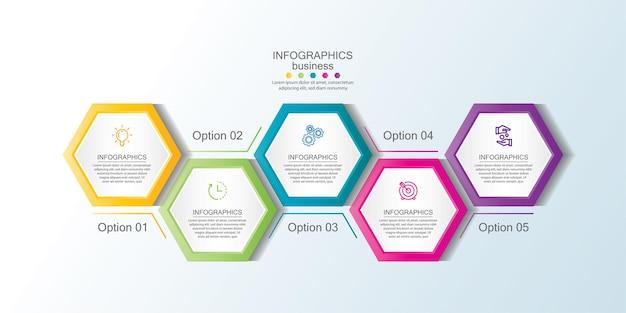 Apresentação do infográfico de negócios colorido com etapas