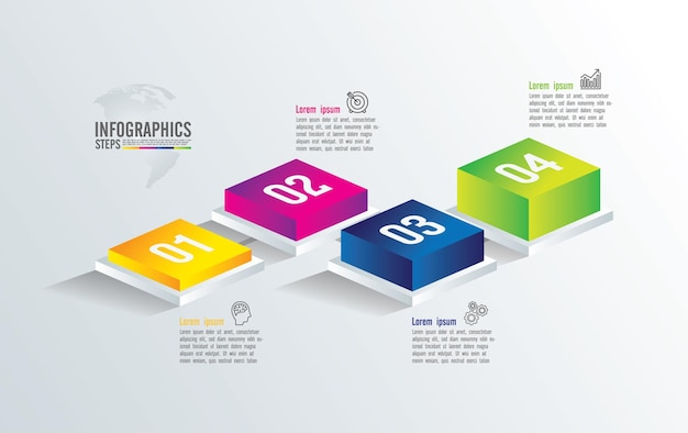 Apresentação do infográfico de negócios com 4 etapas