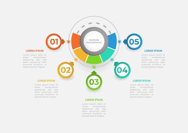 Apresentação do infográfico de negócios com cinco seções