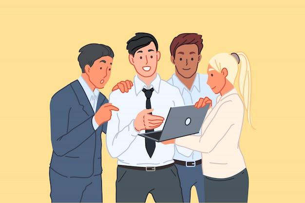 Apresentação do projeto de negócios, compartilhamento de idéias, cooperação de pessoal, conceito de trabalho em equipe