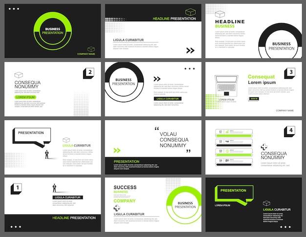 Apresentação e plano de fundo do layout de slides. modelo geométrico de design verde e preto. use para palestras, apresentações, slides e marketing de negócios.