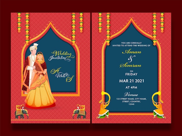 Apresentação frontal e traseira do cartão de convite de casamento