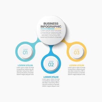 Apresentação modelo de infográfico de círculo de negócios com 3 opções