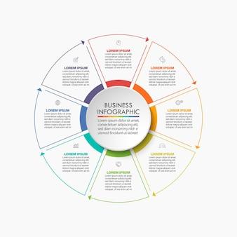 Apresentação modelo de infográfico de círculo de negócios com 8 opções