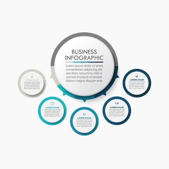 Apresentação modelo de infográfico de círculo de negócios com cinco opções.