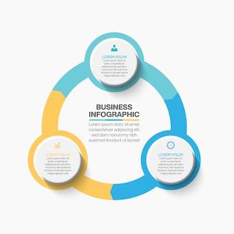 Apresentação modelo de infográfico de círculo de negócios com opções.