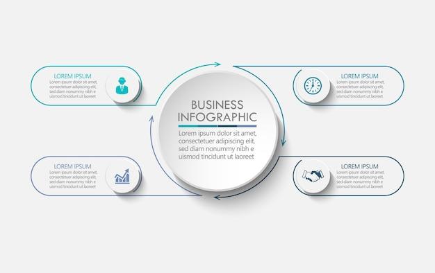 Apresentação modelo de infográfico de círculo de negócios com quatro opções.