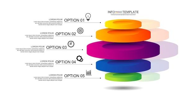 Apresentação modelo de infográfico de negócios colorido com cinco etapas