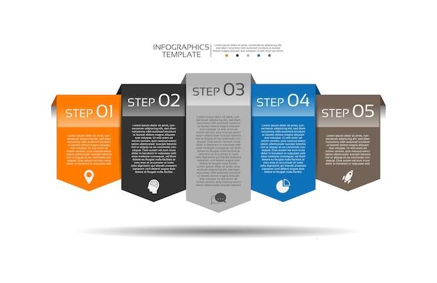 Apresentação modelo de infográfico de negócios com cinco etapas
