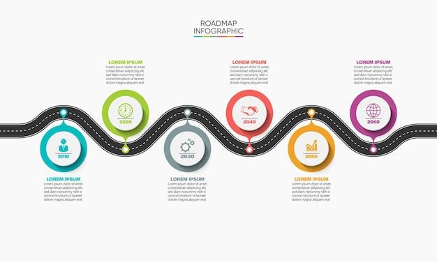 Apresentação modelo de infográfico de roteiro de negócios com 6 opções.