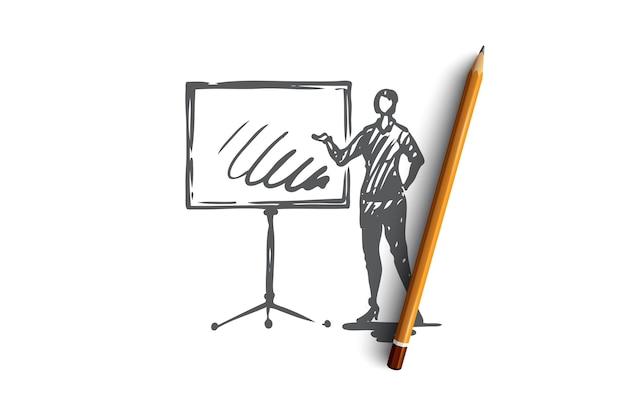 Apresentação, mulher, conselho, negócios, conceito de relatório. mulher desenhada de mão fazendo esboço de conceito de apresentação. ilustração.