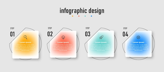 Apresentação negócios criativos infográficos design modelo de efeito de vidro transparente com 4 opções