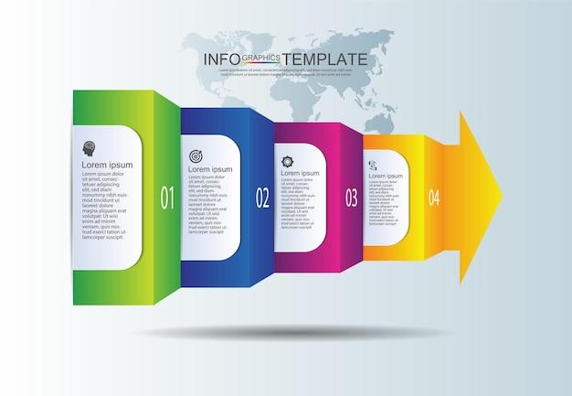 Apresentação negócios infográfico modelo colorido com quatro etapas