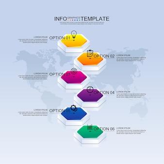 Apresentação negócios infográfico modelo colorido com seis etapas