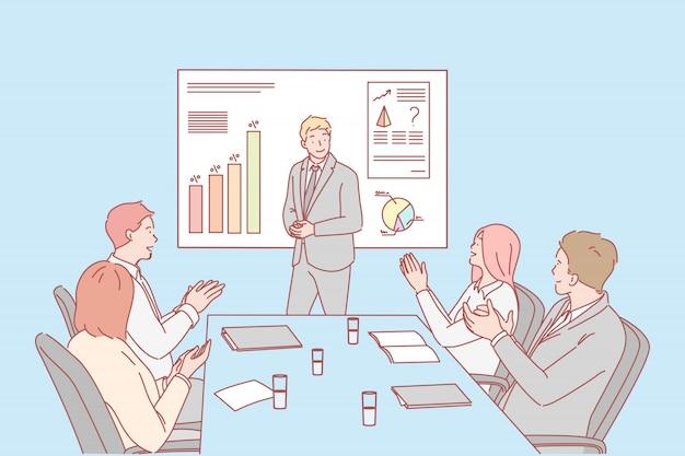 Apresentação, negócios, parabéns, conceito de contratação